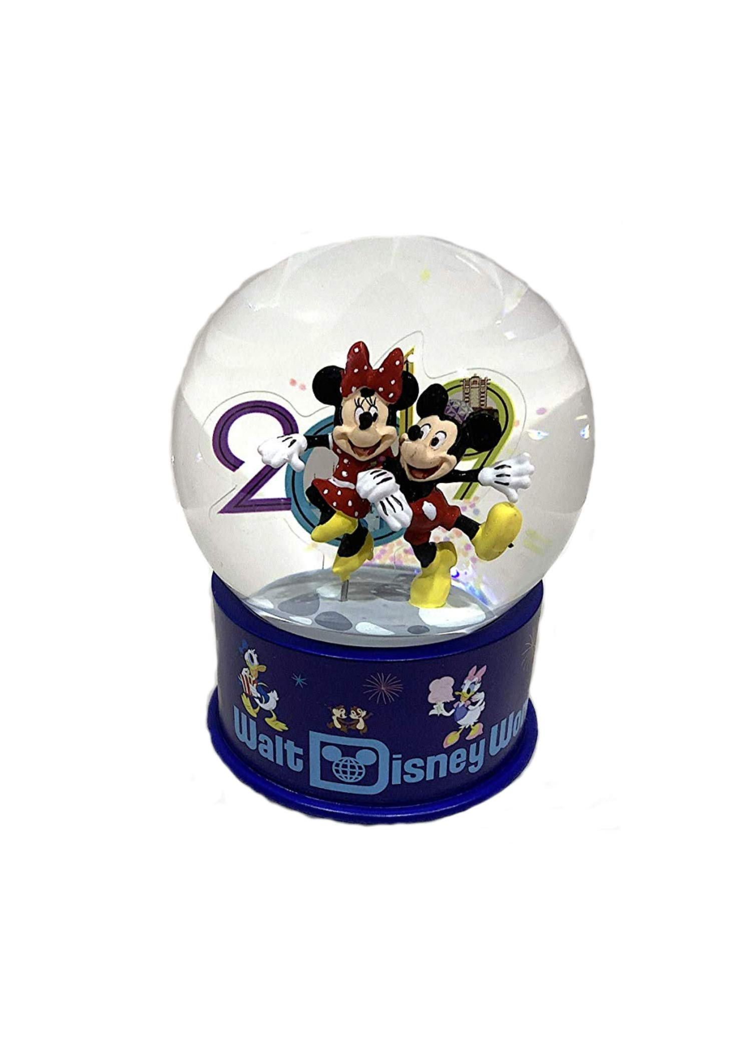 Walt Disney World 2019 Mickey Minnie Mouse Glass Snowglobe