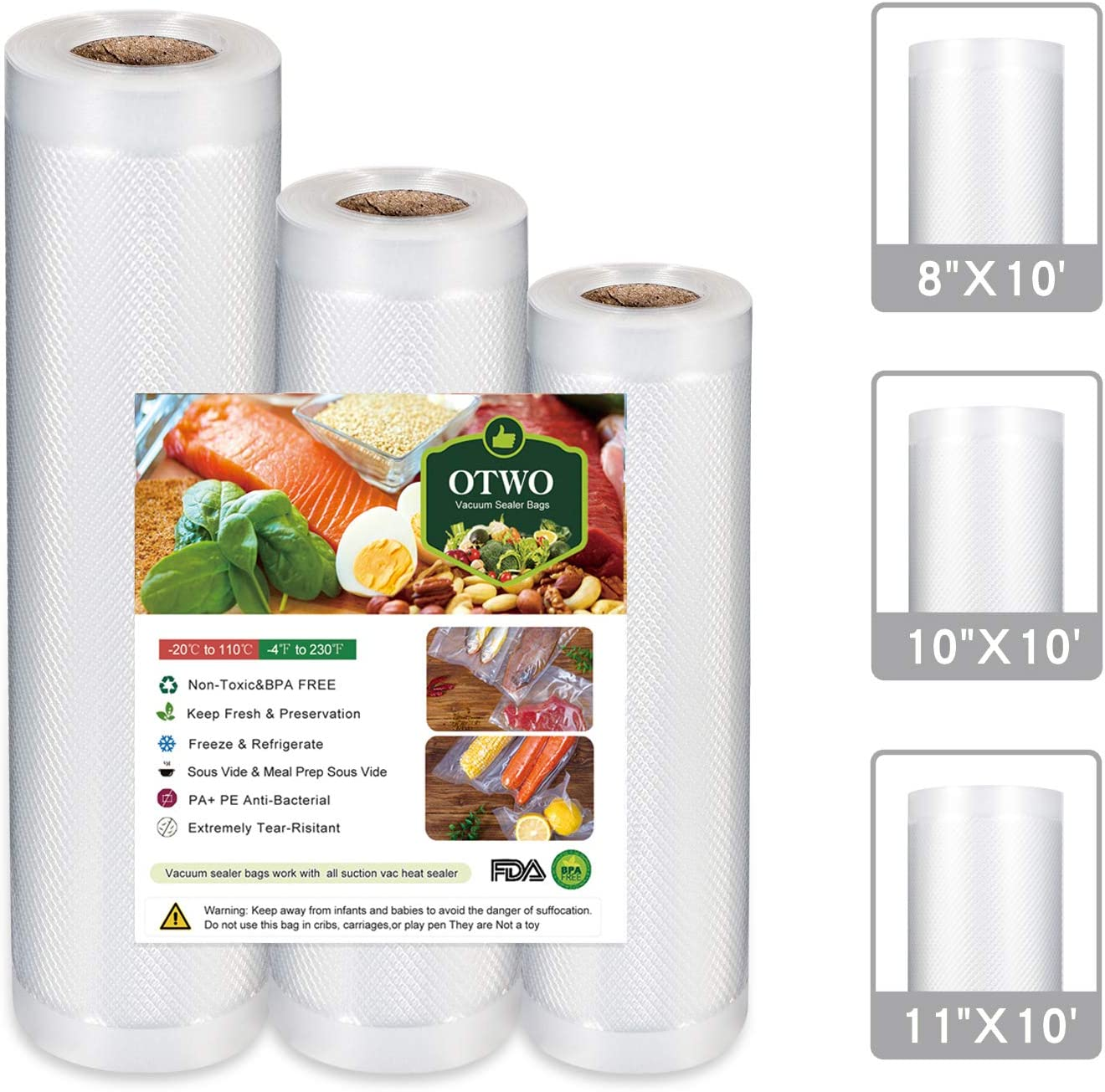 OTWO Vacuum Sealer Bags Roll 8'' x 10'' 10' x 10'' 11' x 10'' Food Saver Rolls Combo pack, BPA Free, Heavy Duty, Sealer Bags Rolls Fit Meal Preparation, Sous Vibe cooking and Vacuum Sealer/packer