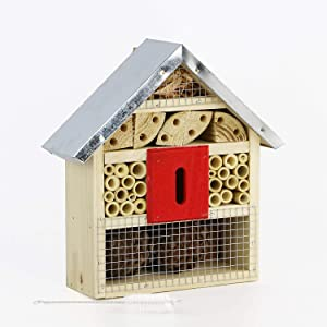 Niteangel Natural Wooden Insect Hotel Bee Bug House/Hotel (Red)