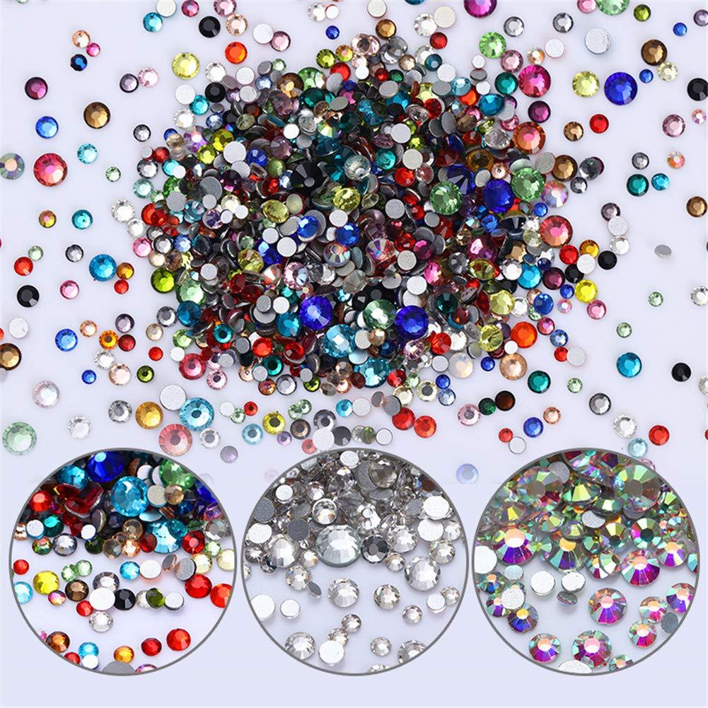 NICOLE DIARY 1440pcs Flat Back Edelsteine Runde Crystal Strass 6 Größen (1, 5 mm-5 mm) Bunte Nagel Verzierungen Charms Edelsteine Steine für Nägel Crafts Eye Make-up Dekoration (AB Farbe)