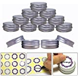 Aluminum Tin Jars, Cosmetic Sample Metal Tins Empty Container Bulk, Round Pot Screw Cap Lid, Small Ounce for Candle, Lip Balm, Salve, Make Up, Eye Shadow, Powder (24 Pack, .5 Oz/15ml)
