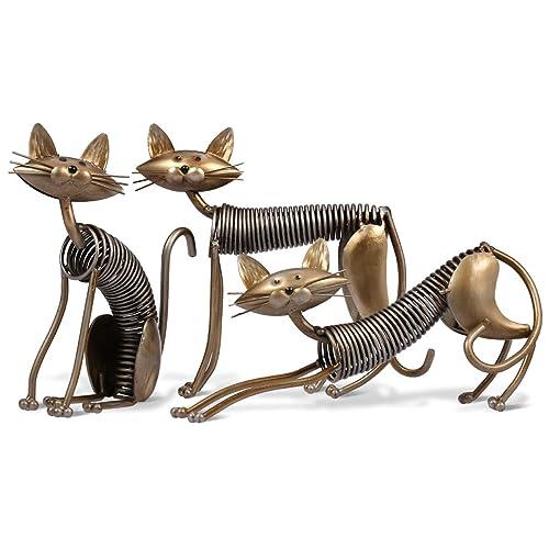 decoración gato metálico con muelle cambia de postura