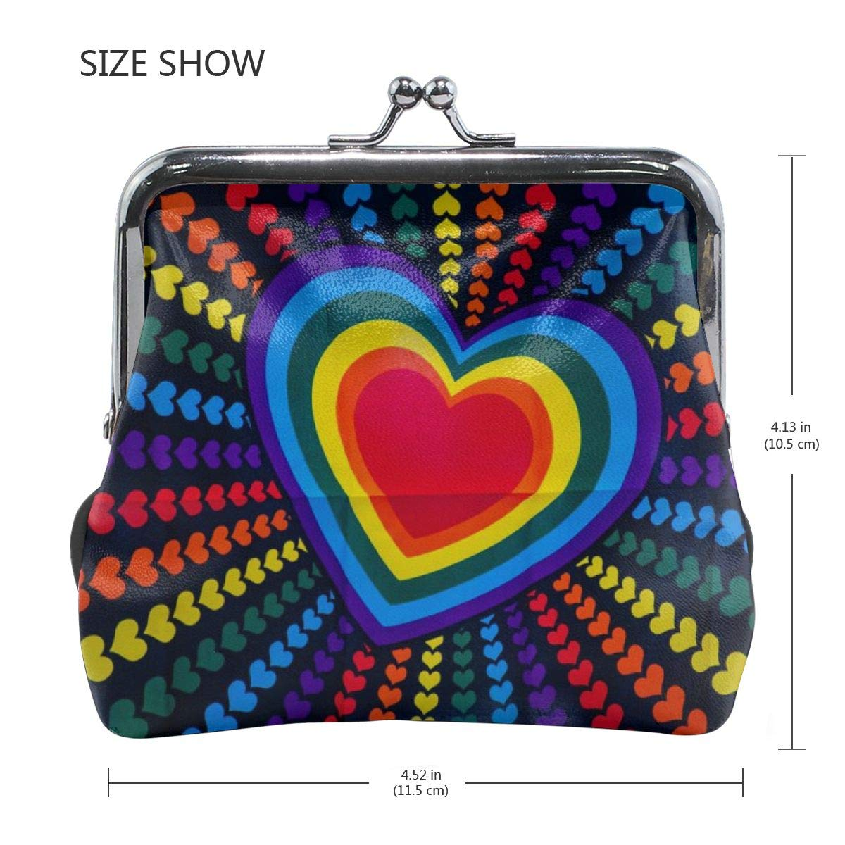 Blue Purple Red And Yellow Heart Printed Women Girl Canvas Floral Coin Purse Clutch Pouch Wallet