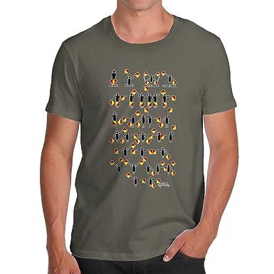 3b18eeff3827 TWISTED ENVY Funny T-Shirts for Men Semaphore Alphabet Men s T-Shirt Small  Khaki