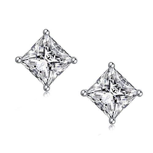 ed58d7932 925 Sterling Silver Square Cubic Zirconia Stud Earrings Hypoallergenic,  Clear Square Princess Cut AAA Fake