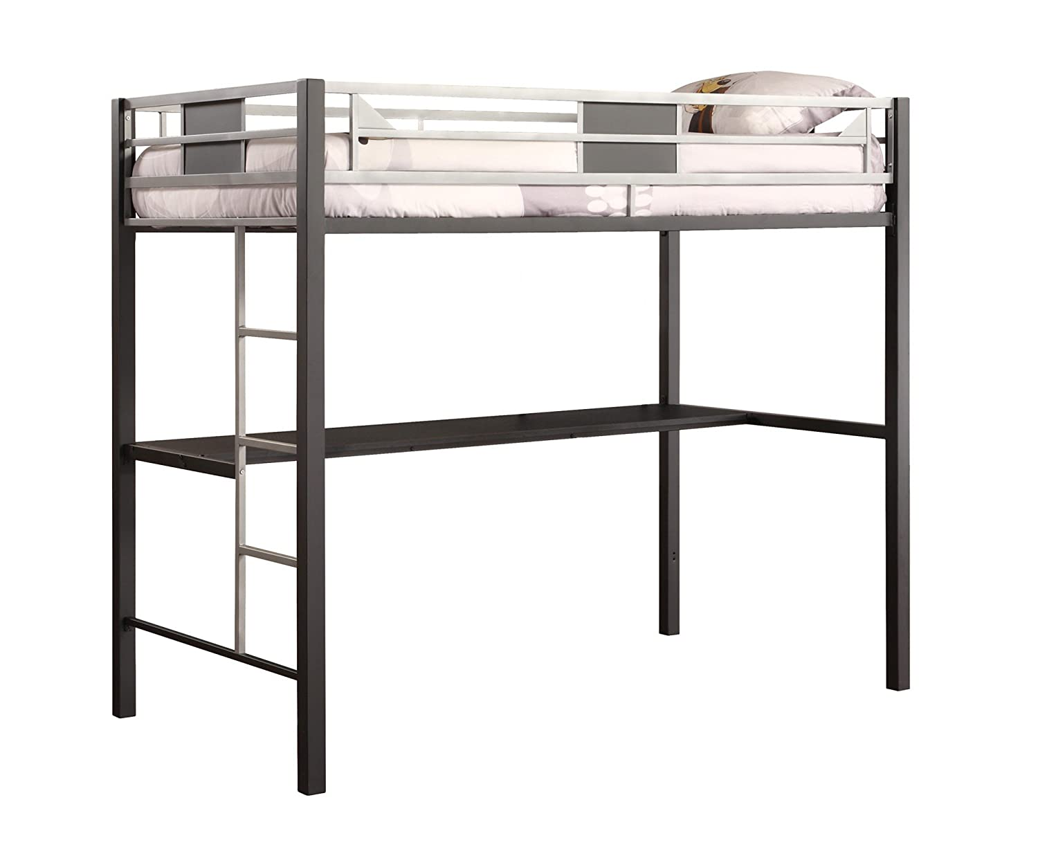 DHP Screen Loft Metal Bunk Bed with Desk and Ladder, Space-Saving Design, Silver Dorel Home Furnishings 5461096