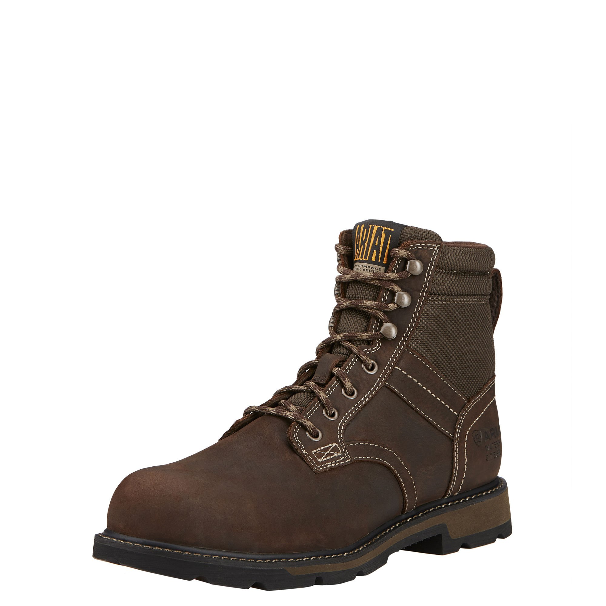 Ariat Men's Groundbreaker 6'' H2O Steel Toe Work Boot, Dark Brown/Dark Olive Cordura, 11 D US
