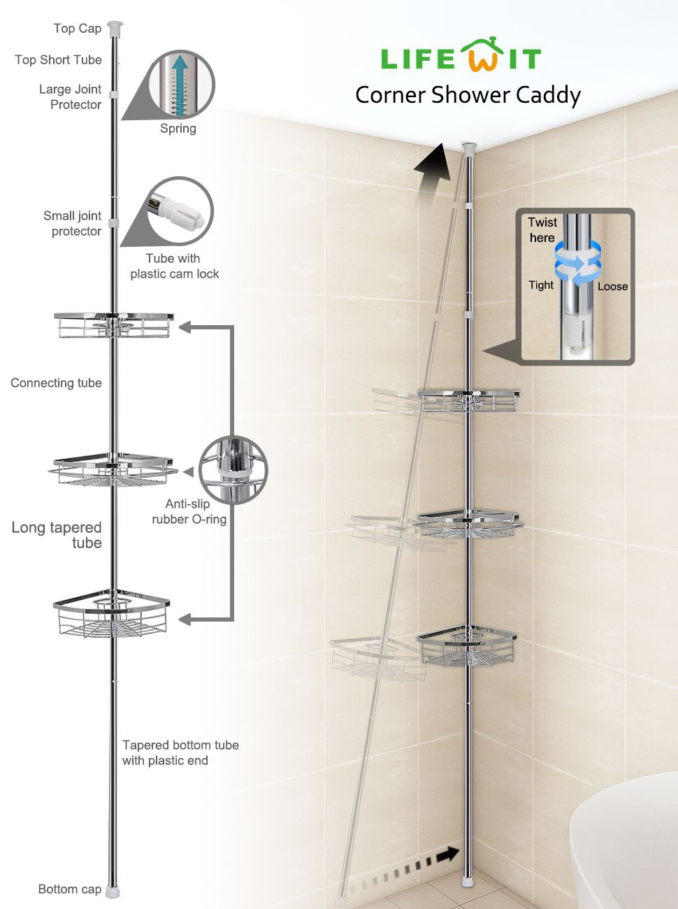 Amazon.com: Lifewit Corner Shower Caddy 3 Tier Adjustable Bathroom ...