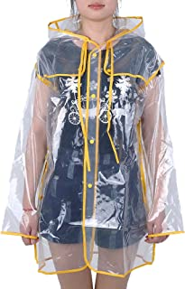 Tbest Imperméable Vestes Anti-Pluie Courte à Capuche Transparente Fête Camping Mac pour Femmes
