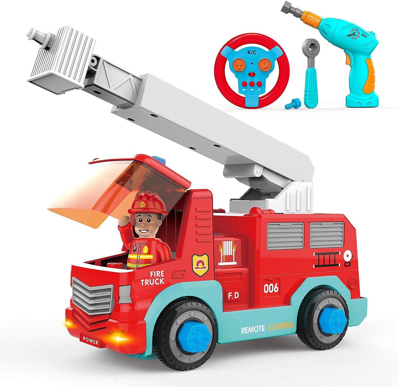 SGILE RC Camión de Bomberos – 2.4Ghz Coche Desmontable para Niños con 3 Sonidos, Luz, Taladro Eléctrico y Llave Inglesa, Vehículo de Construcción de Juguete para Peques