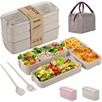 Bento Box for Adults Kids with 3 Containers, Lunch Box Meal Prep container 3-In-1 Compartment with Wheat Straw, Leak…