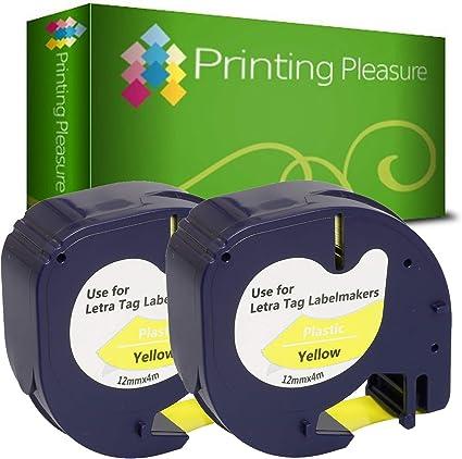 1x compatible dymo letratag 91202 noir sur jaune 12mm x 4m LT-110T qx 50