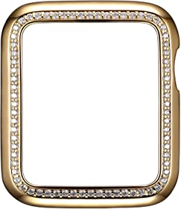 SKYB 18K Yellow Gold Plated Jewelry-Style Apple Watch Case with Cubic Zirconia CZ Border - X-Large (Fits 44mm Series 4/5 iWatch)