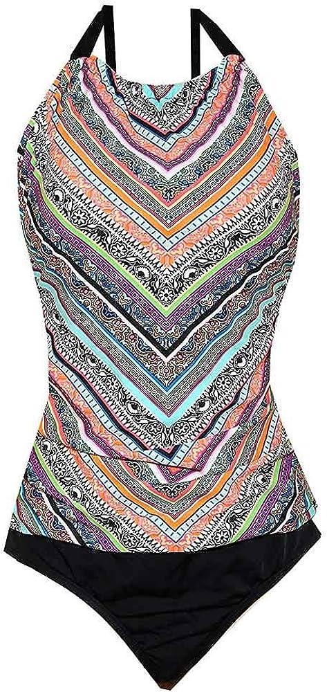 Jantzen Womens Assymetrical Soft Shirred High Neck 1-Piece Swimsuit