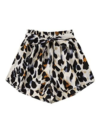 Wdirara Women's Elastic Summer Leopard Print Drawstring Waist Workout Shorts by Wdirara