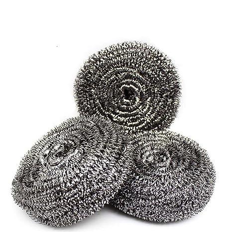 Esponja de acero inoxidable para limpiar ollas y sartenes de cocina, 40 g
