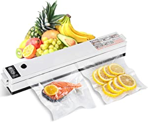 Updated HOMEOW Vacuum Sealer Machine, Sous Vide Cooking, Automatic Sealing System, Food Saver/Food Preservation, Dry & Moist in One Button, Includes 10 Pre-cut Bags