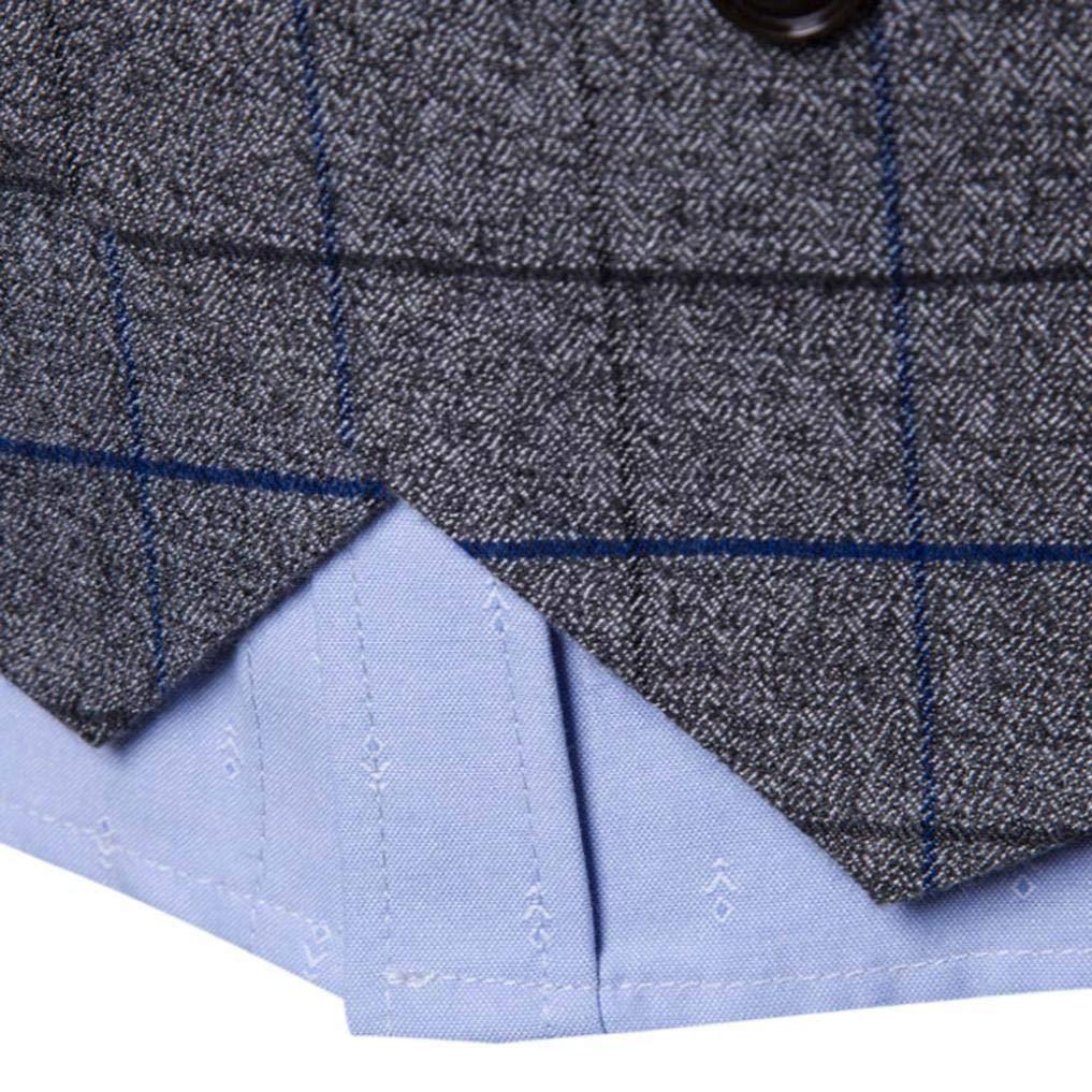 iLXHD Casual Men Plaid Printed Sleeveless Jacket Coat Suit Vest Blouse by iLXHD (Image #6)