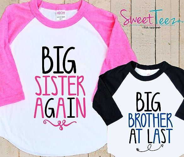 Brand new Amazon.com: Big Sister Again Big brother at last Shirt Set Set  NS42