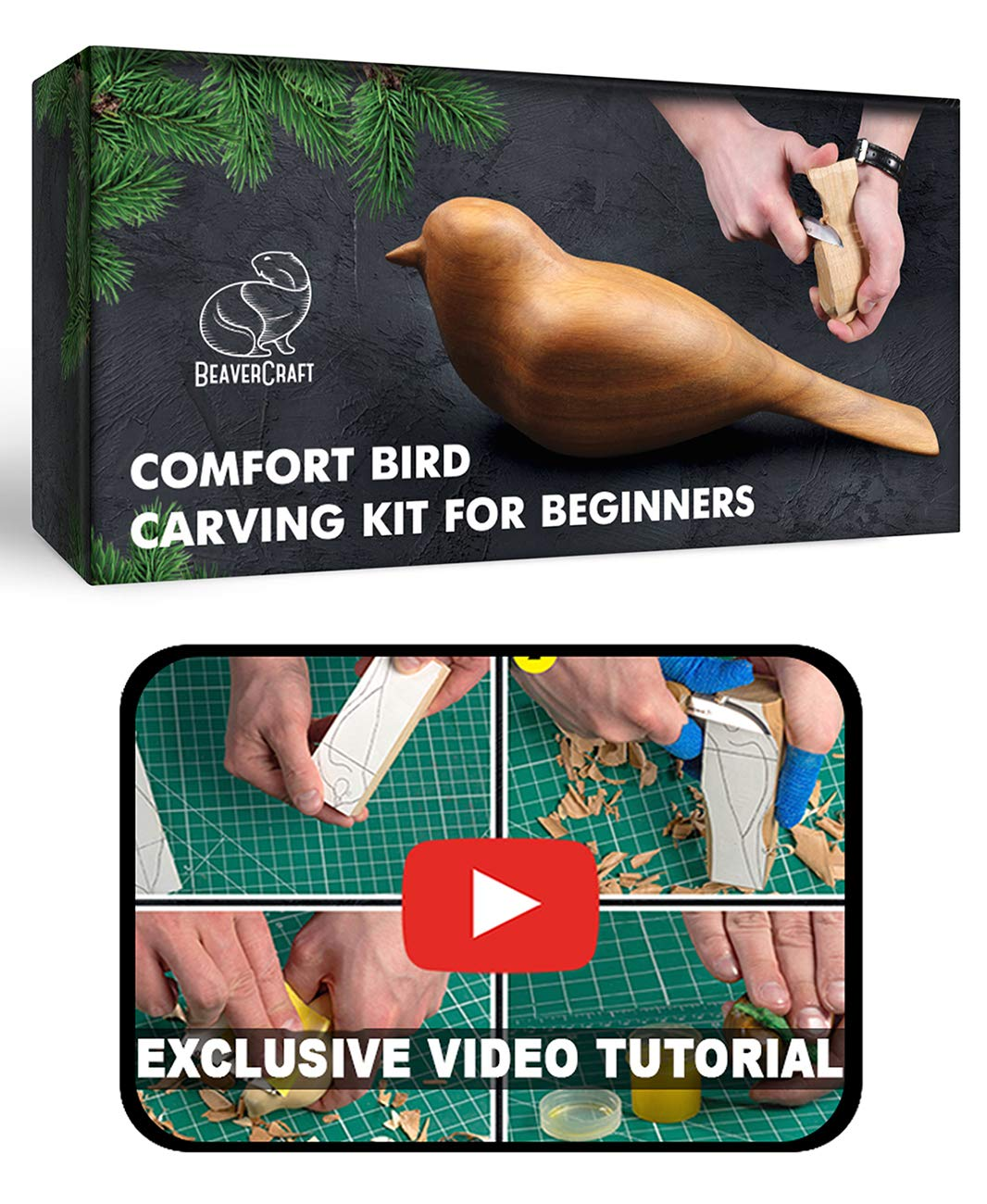 BeaverCraft Comfort Bird DIY Complete Starter Whittling Knife Kit for Beginners Adults and Teens - Book Fun Wood Carving Project Carve Bird - Hobby Whittling Knife - Learning Woodworking Kit for Teen by BeaverCraft