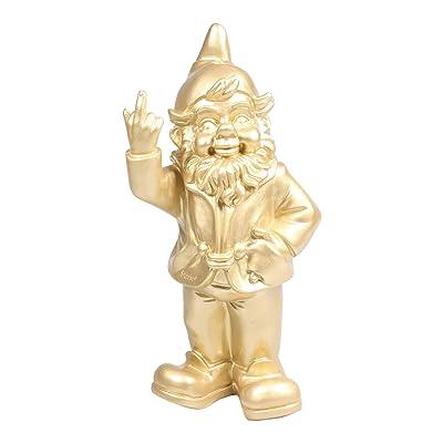 STOOBZ PP 005GO 15 x 12 x 32 cm Cheeky Garden Gnome Figure for Home and Garden - Gold : Garden & Outdoor