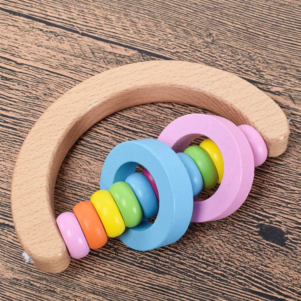 4 Pcs Vivid Color Rainbow Handle Wooden Bells Jingle Stick Shaker Rattle Baby Kids Children Musical Toys