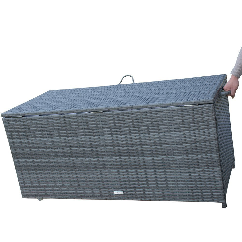 Storage Bin Deck Box PE Wicker Outdoor Patio Cushion Container Garden Furniture, Grey by PatioPost (Image #4)