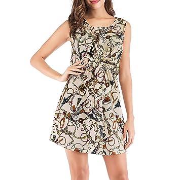 3e8f169cbf Bluestercool 2019 Femme Sundress Printemps Été Casual Sans Manches Fleur  Imprimé Swing Dress Mini Robe Dames