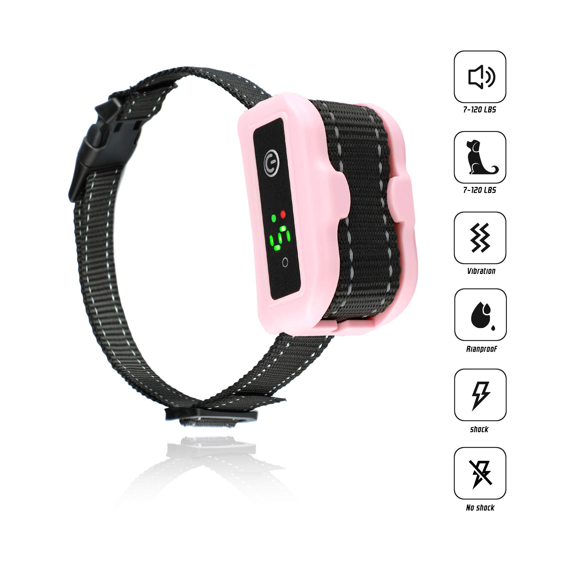 [Newest 2019]Anti Bark Collar for Small, Medium, Large Dogs-5 Adjustable Sensitivity and Intensity Levels-Dual Anti-Barking Modes-Rechargeable/Rainproof/Reflective-No Barking Dog shock collar (PINK)