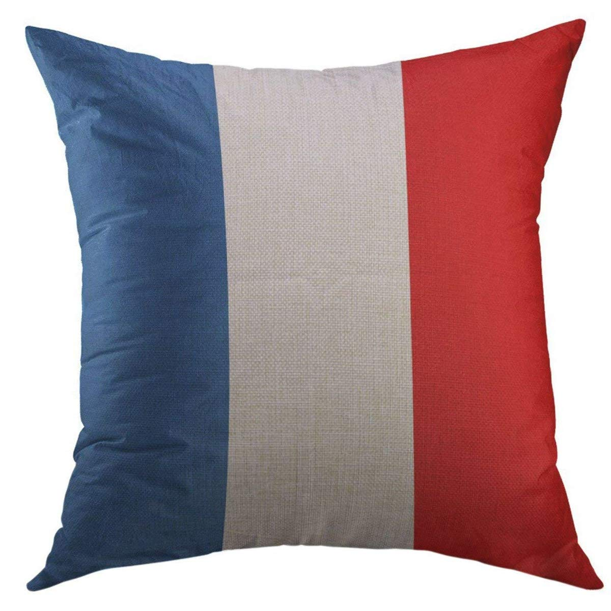 Mugod Decorative Throw Pillow Cover for Couch Sofa,Red French France Flag Color Drawing Emblem Europe Home Decor Pillow Case 18x18 Inch