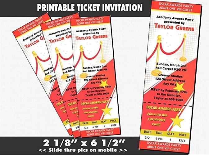 amazon com red carpet oscar party ticket invitation printable