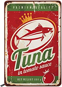 Swono Tuna in Tomato Sauce Tin Signs,Vintage Metal Tin Sign for Men Women,Wall Decor for Bars,Restaurants,Cafes Pubs,12x8 Inch