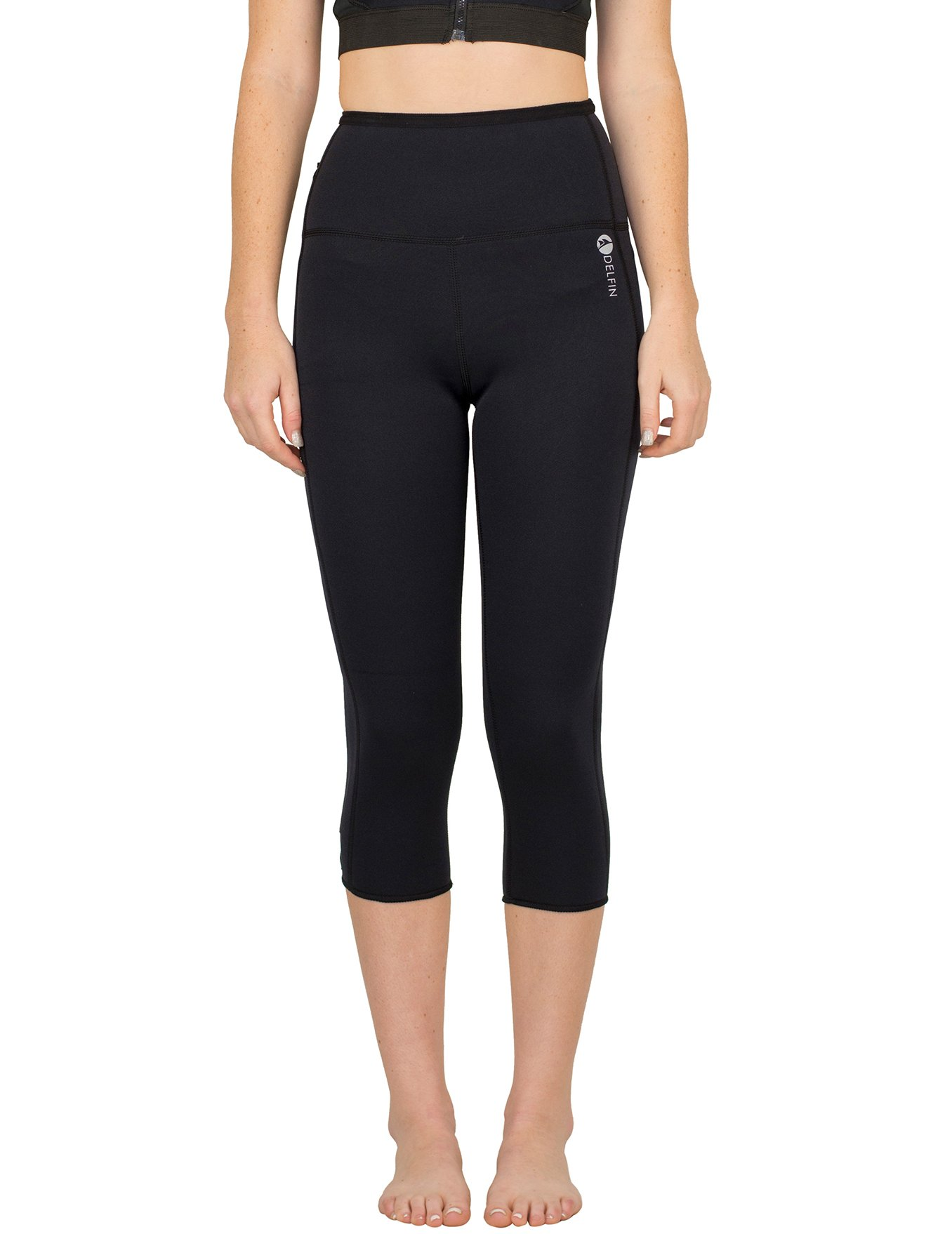Delfin Womens Heat Maximizing Neoprene Anti Cellulite Fitness Capri, Black, XL