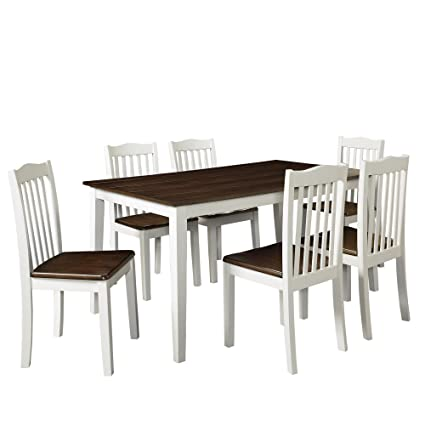 Amazon.com: Dorel Living Shiloh 5-Piece Rustic Dining Set, Creamy ...