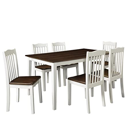 Dorel Living Shiloh 5-Piece Rustic Dining Set, Creamy White Rustic Mahogany