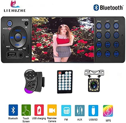 1 DIN Car Stereo Radio MP5 Player Bluetooth FM AUX USB Head Unit+Remote Control