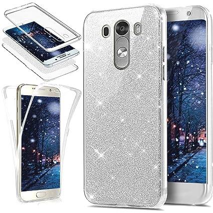 Funda LG G3,Carcasa LG G3,Funda para LG G3 Carcasa,ikasus Brillantes Lentejuelas Estrella Brillo Transparente TPU Silicona 360°Full Body Fundas Skin ...