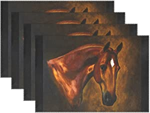Classical Horse Heat-Resistant Table Placemats Set of 6 Anti-Skid Table Mats Washable Eat Mat for Parties Everyday & Holidays Use