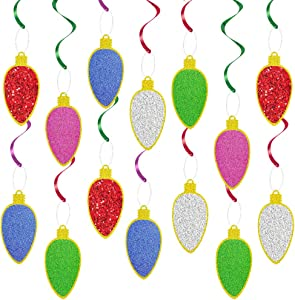 UTOPP Pack of 20 Christmas LightBulb Hanging Swirl,Glitter Christmas Party Swirl Foil Hanging Ceiling Decoration,Merry Christmas Swirls Streamers Garland for Xmas,New Year Eve Party Decor,Home Decor,Holiday Party Supplies