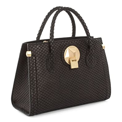 f52a589cfdeb Céline Dion Octave Leather Satchel (Black Snake)  Handbags  Amazon.com