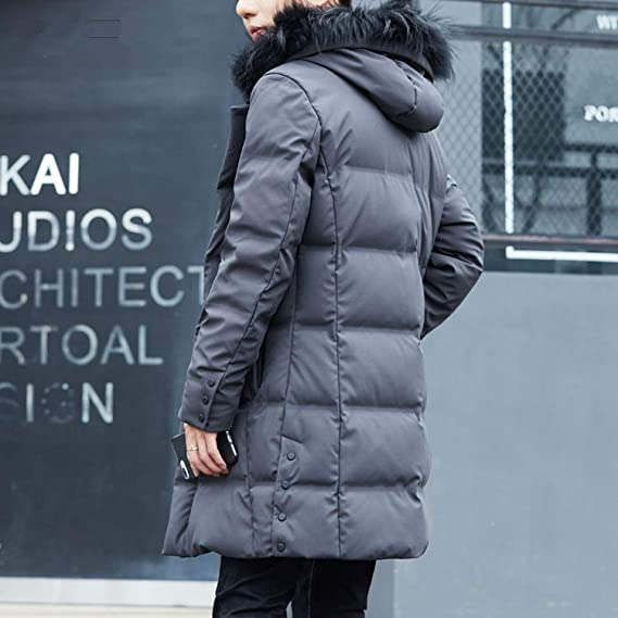 Amazon.com: Winter Jacket Men Natural F-ox f-ur Collar Coat 90% Down Jacket Men Clothes: Clothing