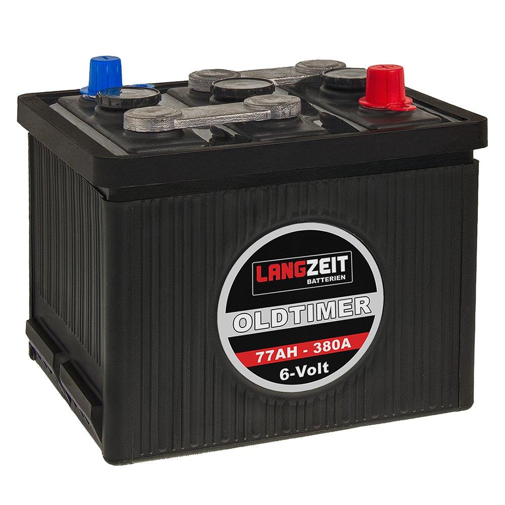 LANGZEIT Oldtimer Batterie 6V 77Ah Autobatterie Starterbatterie 6 Volt 07715 Langzeit LZ6-77