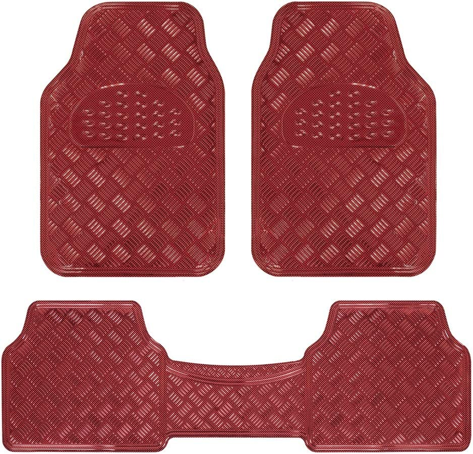 BDK Red All Weather Heavy Duty Universal Fit Car Floor Mats Interior Liners for Auto Van Truck SUV, Heavy Duty All Weather Protection