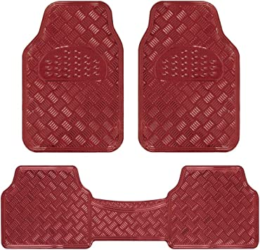 Amazon Com Bdk Universal Fit 3 Piece Set Metallic Design Car Floor Mat Heavy Duty All Weather With Rubber Backing Wine Red Mt 643 Rd Automotive