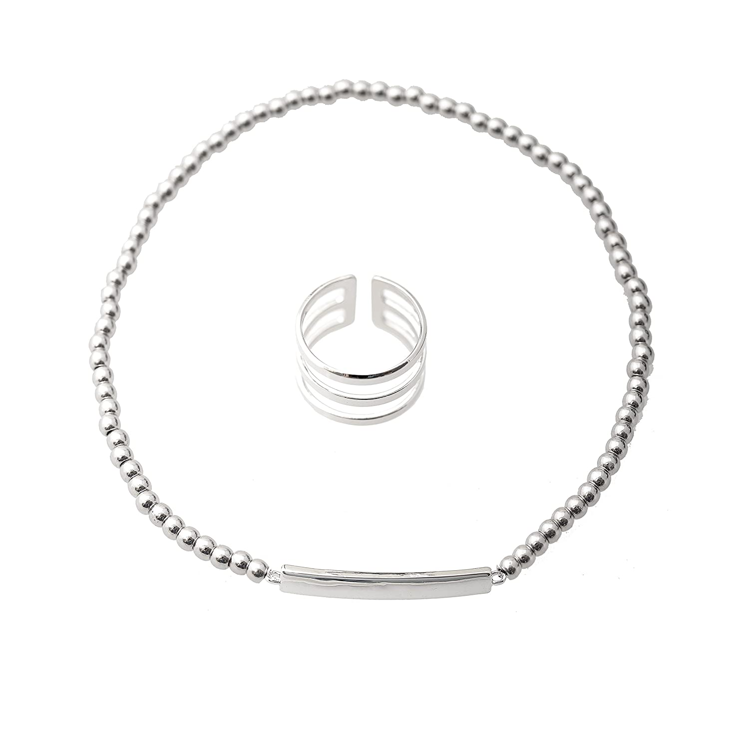 Spinningdaisy Three Line Toe Ring and Bar Stretch Anklet Set