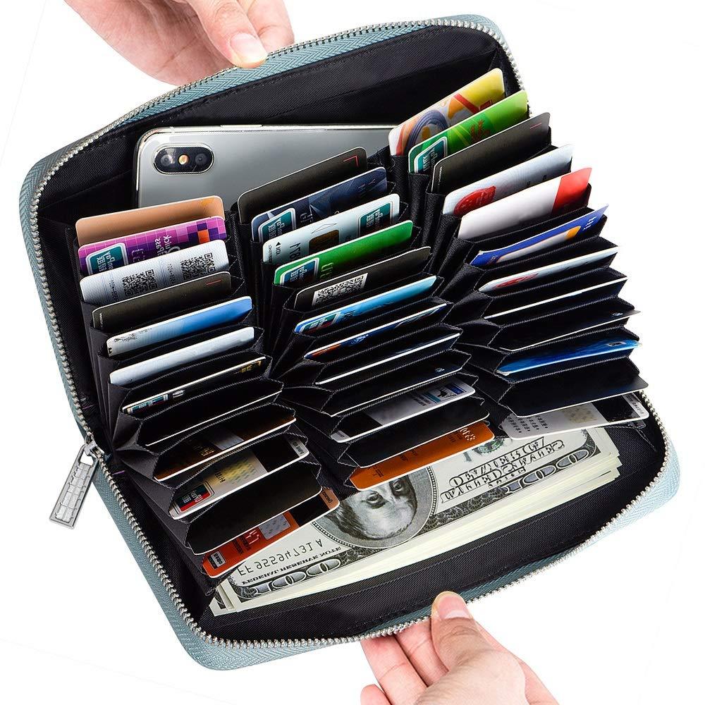 Credit Card Wallet Women RFID Blocking Card Case Wallet Leather Credit Card Holder(Blue)