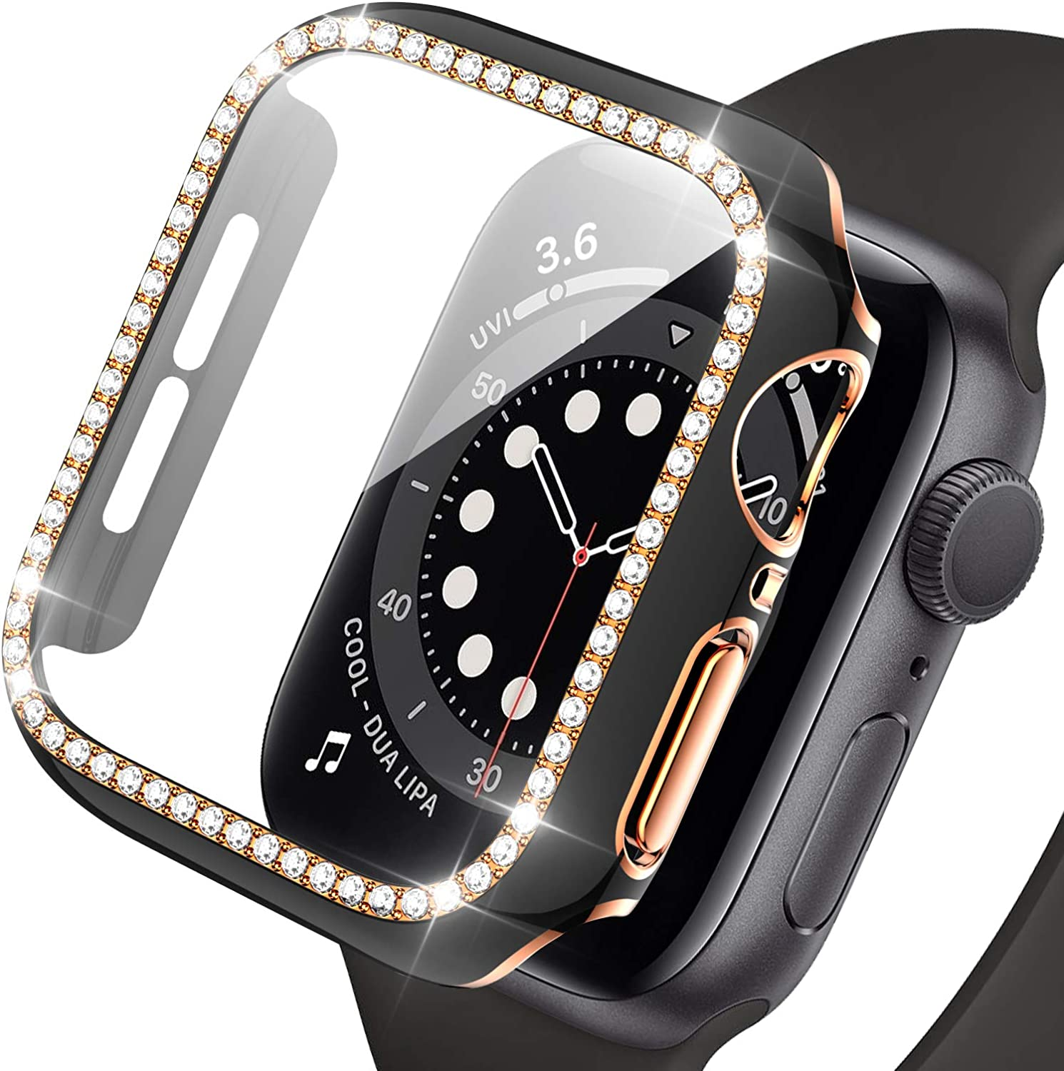 Haojavo Apple Watch Case with Screen Protector for Apple Watch Series 6/5/4/SE 44mm, New 3D Full Cover Crystal Bling Diamond Rhinestone Ultra-Thin Bumper Protective Case for iWatch 44mm Accessories