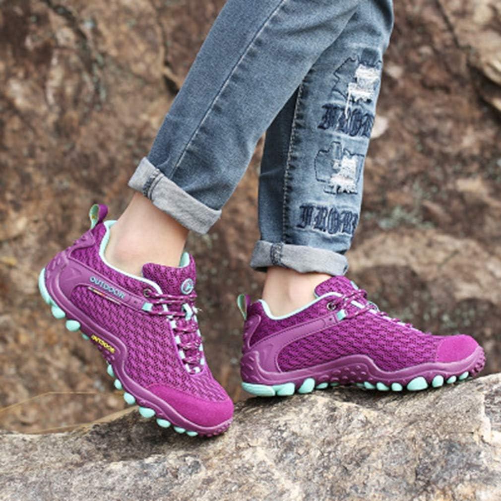 Veveca Women Outdoor Running Trail Hiker Non-Slip Casual Climbing Shoes Lightweight Mesh Hiking Shoes Purple