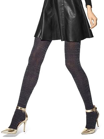 60ff9e0b3285c HUE Women's Metallic Ribbed Tights Black Tights SM/MD at Amazon Women's  Clothing store:
