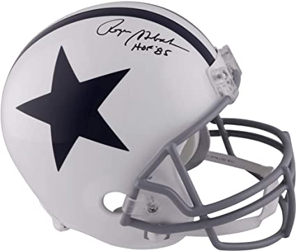 Roger Staubach Dallas Cowboys Autographed Throwback White Riddell Replica  Helmet with quot HOF 85 quot  Inscription 425b6e193